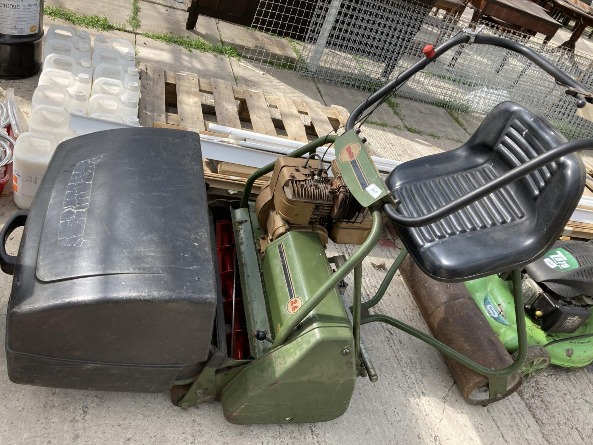 A WEBB 24 INCH CYLINDER ROLLER LAWN MOWER WITH GRASS BOX, RIDE ON ROLLER SEAT (THIS MOWER HAS BEEN