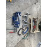 A BOX CONTAINING VARIOUS CLAMPS NO VAT