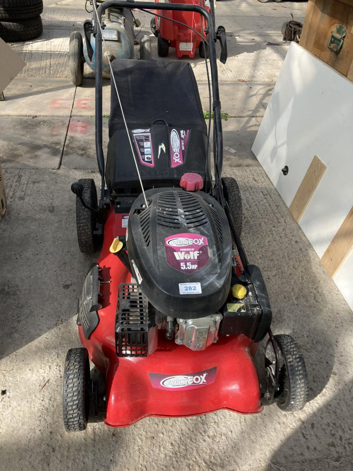 A FRISKY FOX MOWER WITH 5.5HP WOLF ENGINE NO VAT