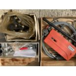 THREE ITEMS TO INCLUDE A JOCKEY WINCH, DUAL ACTION POCKET HOLE JIG AND A CLAMP ETC NO VAT