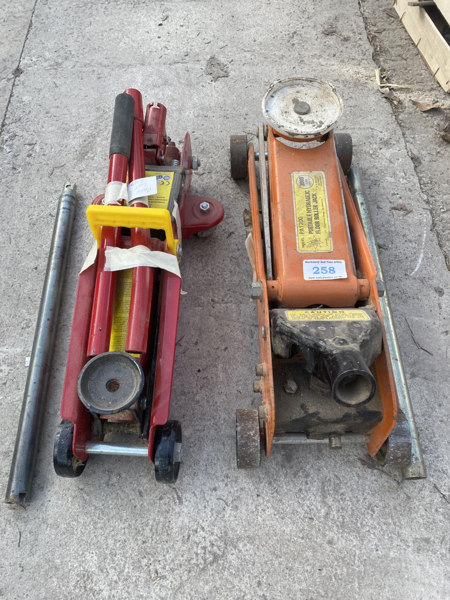 TWO TROLLEY JACKS ONE 2000KG AND ONE 3000LB CAPACITY NO VAT