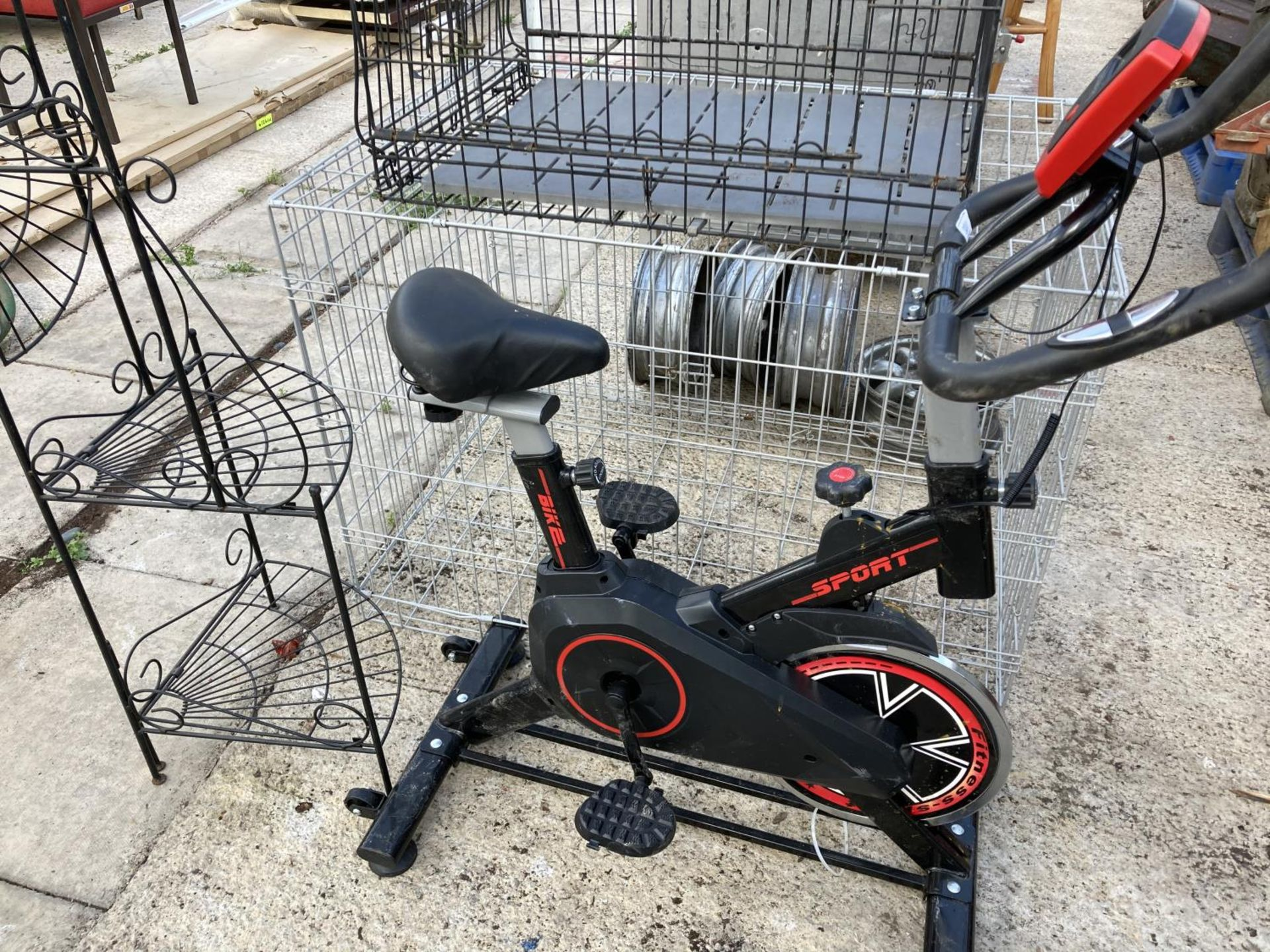 FOUR ALLOY WHEELS, TWO DOG CRATES AND A SPIN BIKE NO VAT - Image 2 of 3