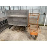 A METAL SHELVING UNIT AND A FOUR WHEELED TROLLEY NO VAT