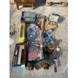 VARIOUS ITEMS TO INCLUDE TORCHES, BOTTLES JACKS, PICK AXE ETC NO VAT