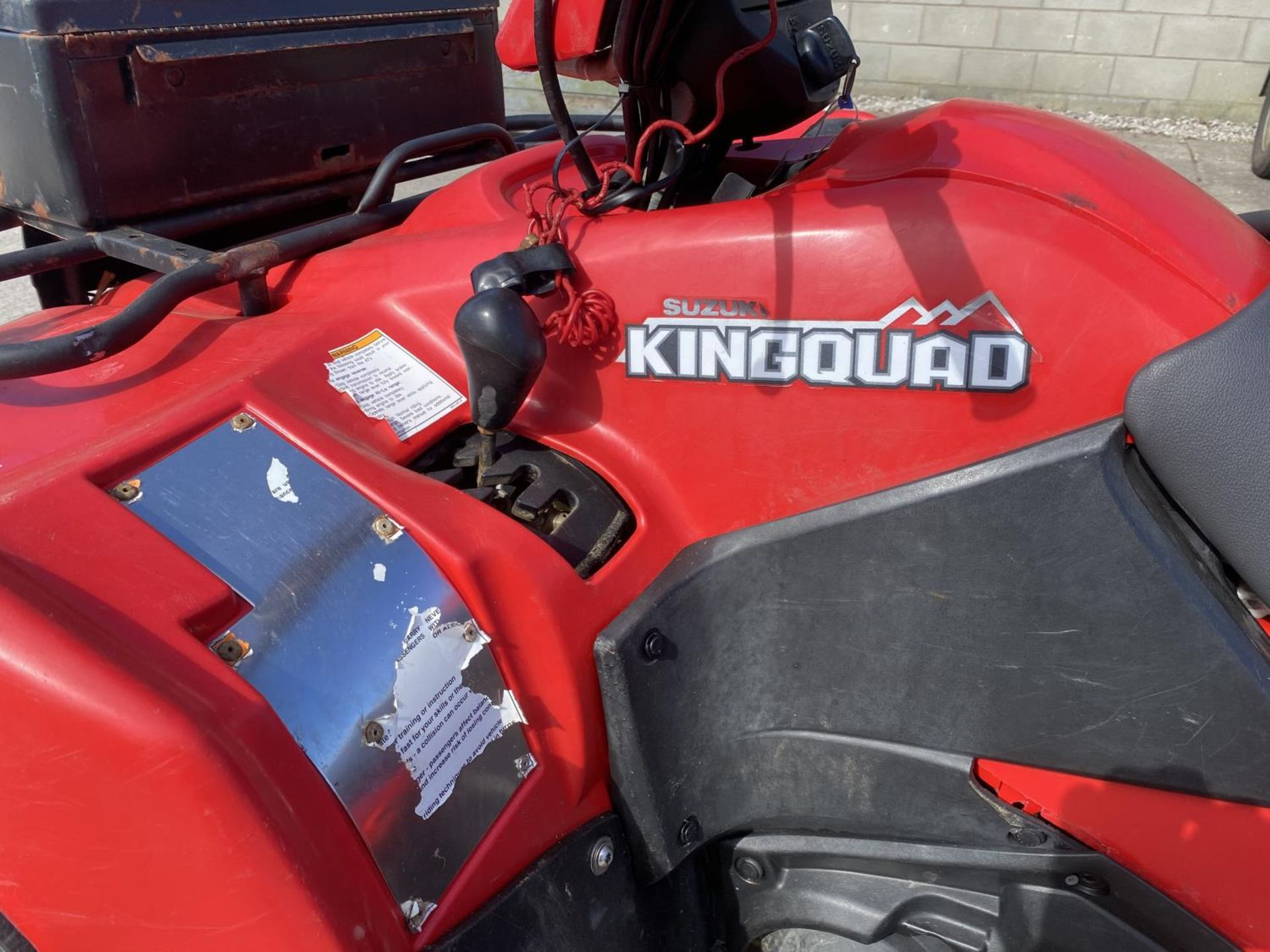 A 2014 SUZUKI KING QUAD, 500 CC WITH POWER STEERING - SEE VIDEO OF VEHICLE STARTING AND RUNNING AT - Image 2 of 9