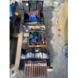 VARIOUS TOOLS AND TOOL BOXES TO INCLUDE CHISELS, SCREW DRIVERS, WIRE STRIPPERS ETC NO VAT