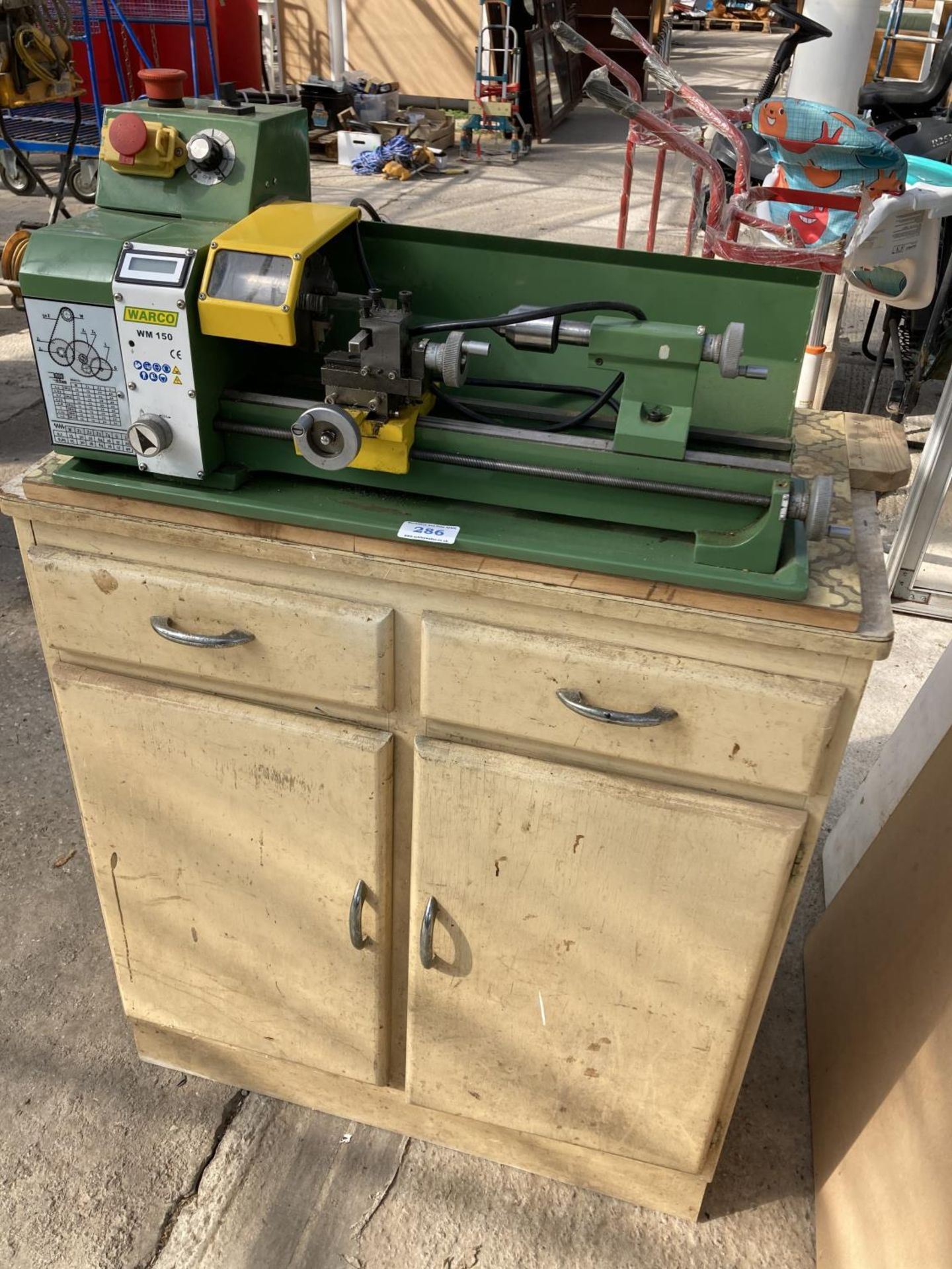 A WARCO WM150 LATHE AND A DRAW FULL OF ENGINEERING EQUIPTMENT NO VAT