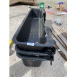 3 BLACK PLASTIC HANGING CATTLE/CALF TROUGHS + VAT