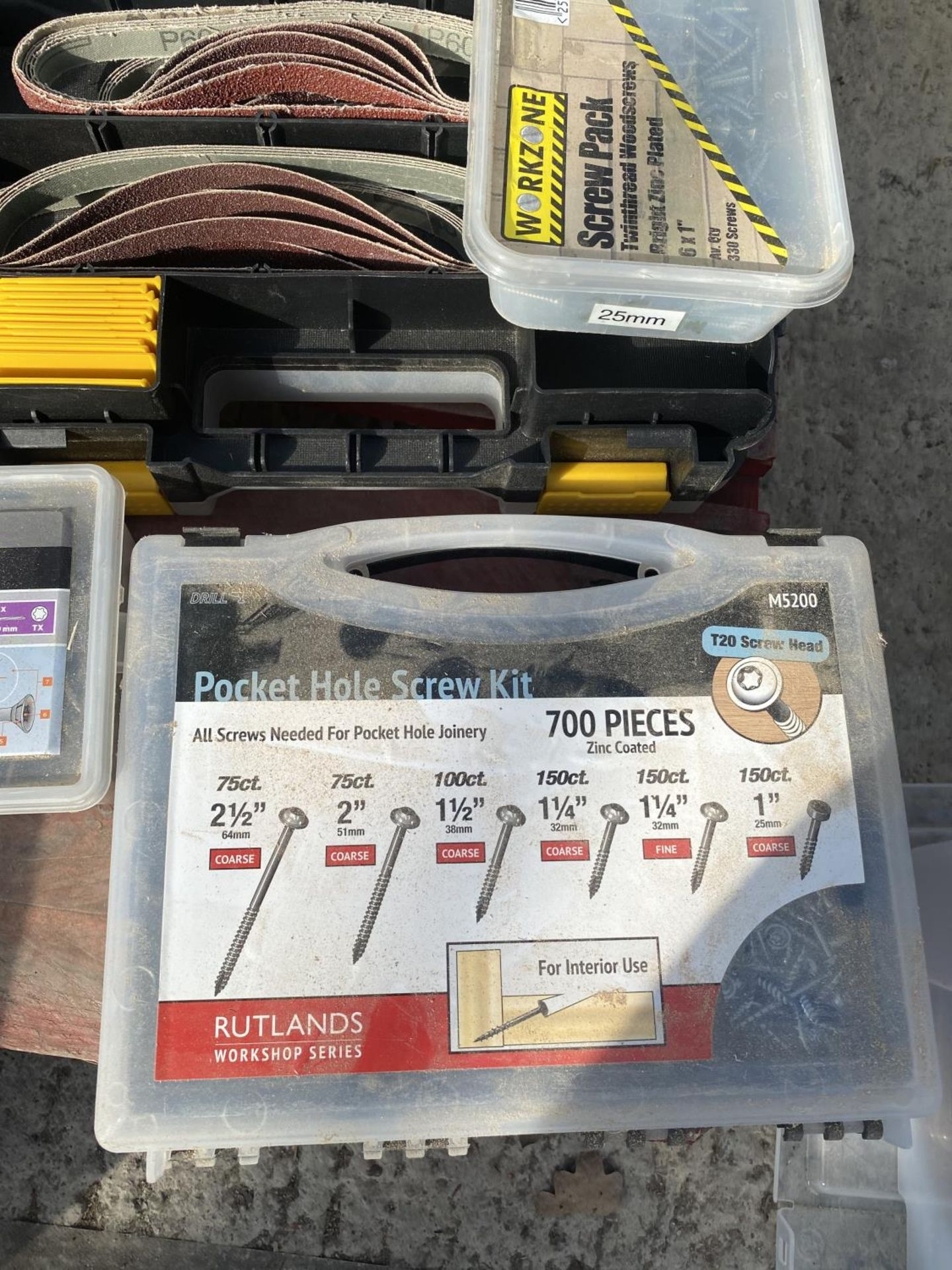 A BOX CONTAINING A LARGE QUANTITY OF SCREWS, NUTS, BOLTS, SANDING BELTS ETC NO VAT - Image 2 of 6
