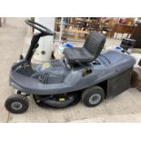 A MOUNTFIELD R25 MANUAL LAWN TRACTOR WITH ELECTRIC START AND GRASS BOX BELIEVED WORKING BUT NO