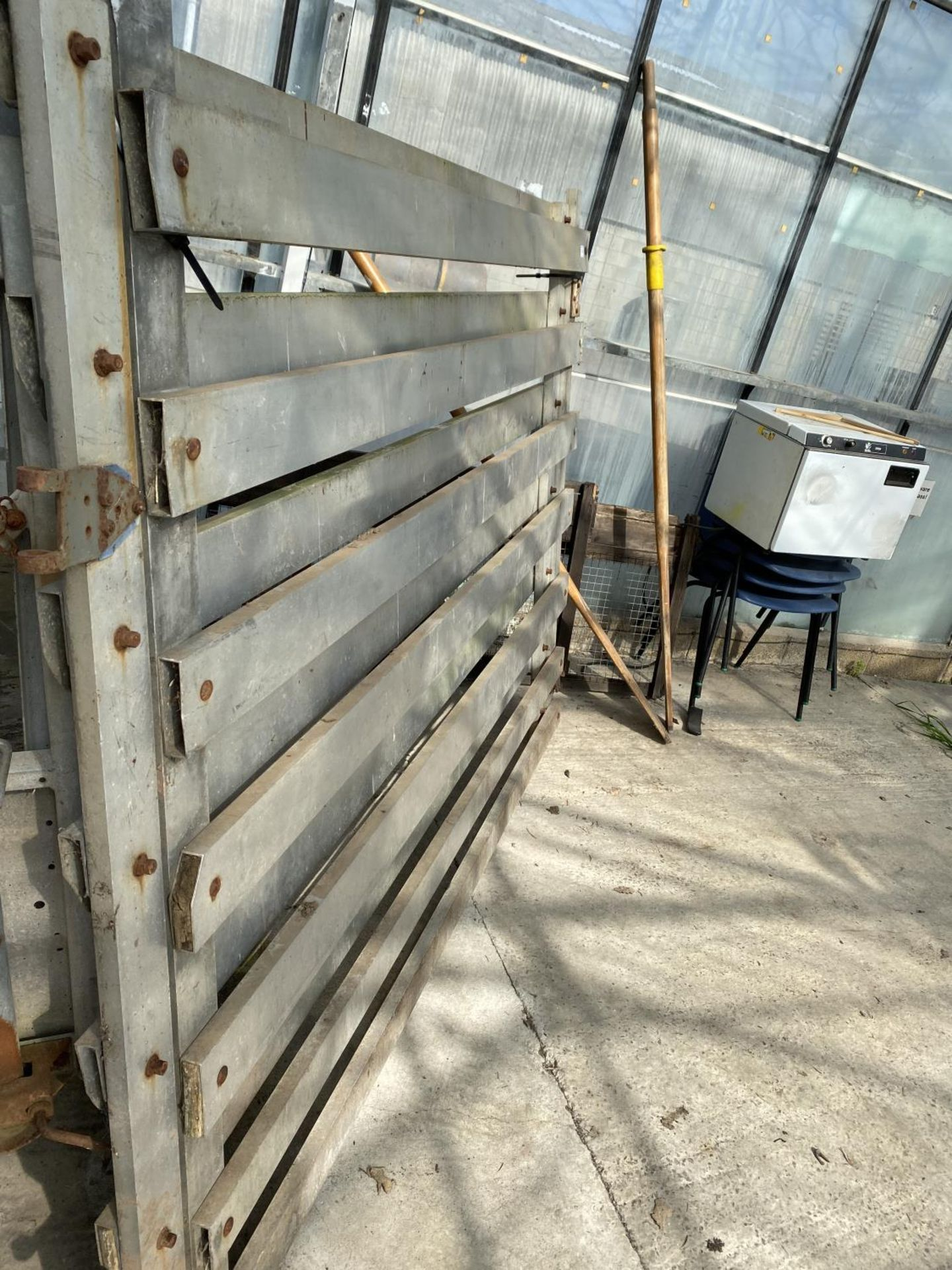 A PAIR OF ALUMIMIUM GATES OFF A CATTLE CONTAINER + VAT - Image 2 of 2