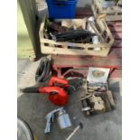 A BOX CONTAINING A PRESS, BLOWER, SPRAYER ETC NO VAT