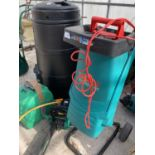 FOUR ITEMS TO INCLUDE A BOSCH SHREDDER, CHAIN SAW, A HOSE PIPE AND A LIDDED COMPOST BIN NO VAT