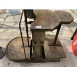 A SET OF VINTAGE WOODEN PLATFORM SCALES NO VAT
