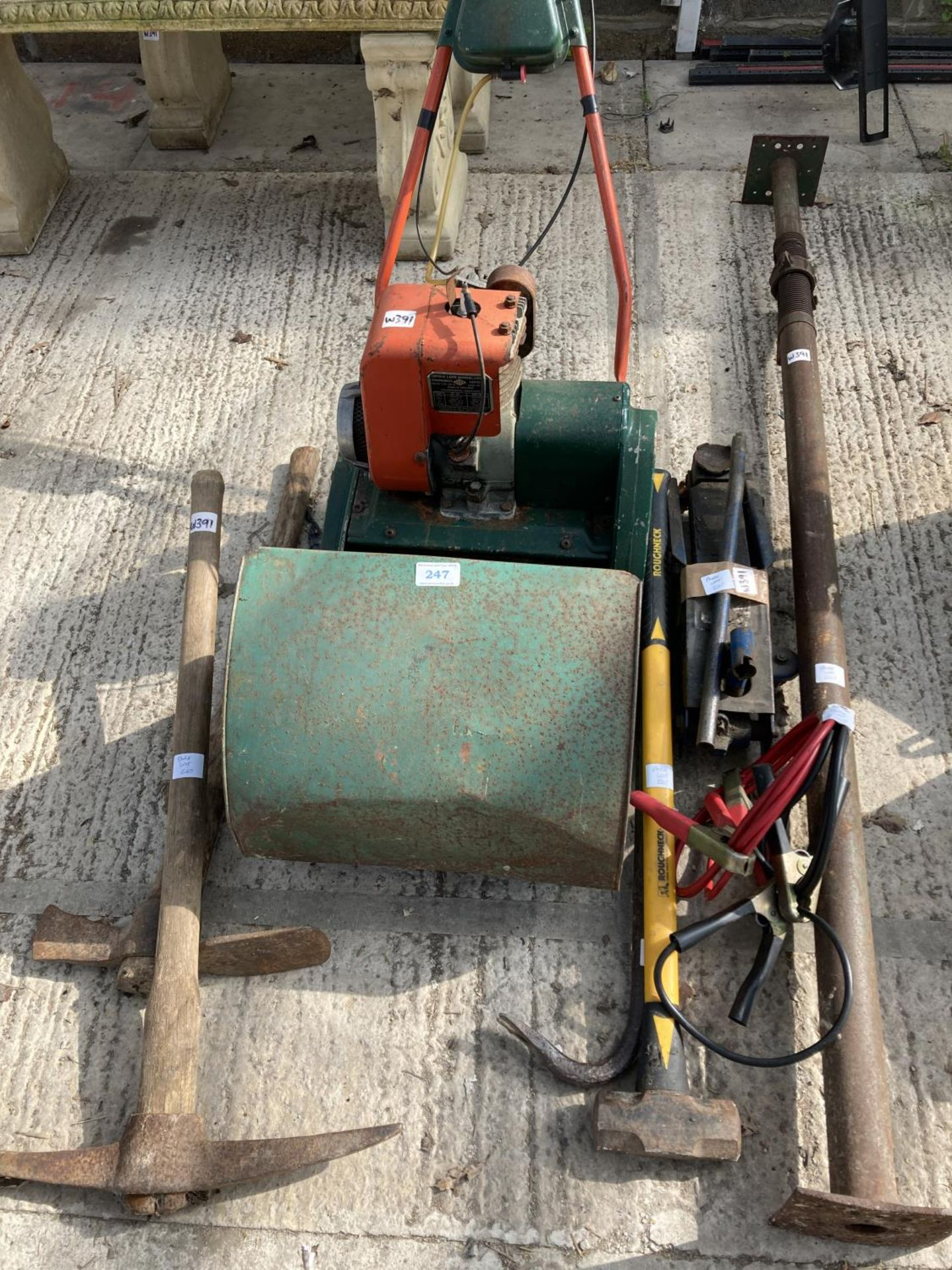 VARIOUS ITEMS TO INCLUDE AN PETROL LAWN MOWER, ACRO PROP, SLEDGE HAMMER, PICK, TROLLEY JACK, JUMP