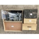 FOUR ITEMS TO INCLUDE A BEALL PEN WIZARD, HEAT GUN, AXMINSTER ADHESIVE DRUMS ETC NO VAT