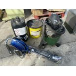 VARIOUS ITEMS TO INCLUDE AN AQUA VAC, SAND BLASTING ABRASIVE, DRAINING RODS ETC NO VAT