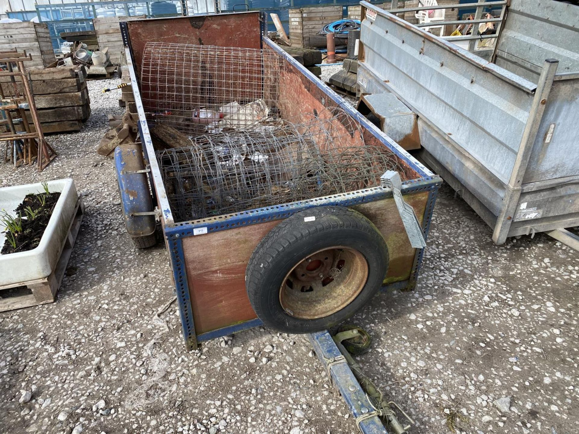 A TWO WHEELED TRAILER AND CONTENTS + VAT - Image 2 of 3