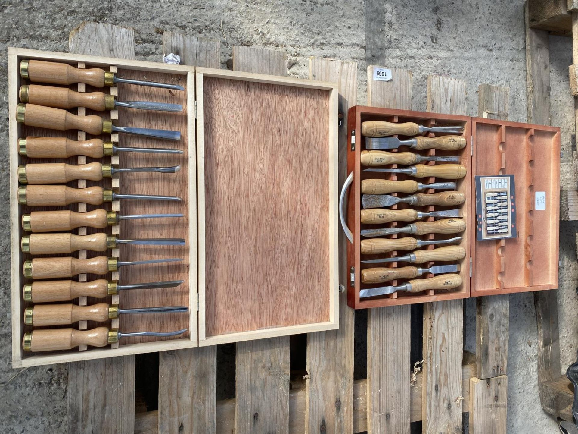 TWENTY FOUR CHISELS IN TWO WOODEN BOXES NO VAT