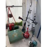 FOUR ITEMS TO INCLUDE THREE STRIMMERS AND A MOWER NO VAT
