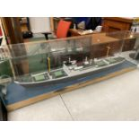 A VERY LARGE GLASS BOXED MODEL STEAM LINER 123CM X 27CM X 37CM