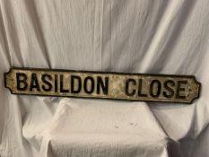 A CAST METAL STREET SIGN 'BASILDON CLOSE' 110CM X 15CM