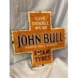 A 'JOHN BULL (NORTH POLE PATENT) PRAM TYRES' ENAMEL SIGN 45CM X 45CM
