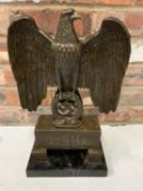 A BRONZE SCUPLTURE OF A GERMAN STATUE WITH EAGLE AND SWASTIKA ON MARBLE BASE - H:44CM INCLUDING BASE