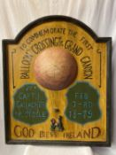 A LARGE WOODEN HAND PAINTED SIGN WITH THREE DIMENSIONAL DETAIL 77CM X 92CM