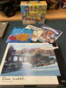 A JIGSAW 'WINTER FROST AT STOURHEAD' TO INCLUDE A CHILDS JIGSAW AND THREE BOOKS