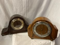 TWO MANTEL CLOCKS, ONE A MAHOGANY NAPOLEON HAT EXAMPLE AND THE OTHER AN ART DECO STYLE