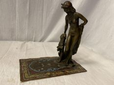A BERGMAN STYLE COLD PAINTED NAN GREB BRONZE IN THE FORM OF A DANCER AND LIONESS H: APPROXIMATELY