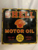 A SHELL MOTOR OIL ENAMEL SIGN 45CM X 45CM
