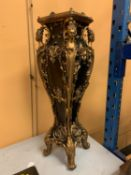 A TALL BLACK JARDINIERE STAND WITH GOLD DETAIL H: 42CM