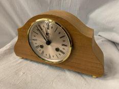 A BENTIMA EIGHT DAY VENEERED MANTEL CLOCK