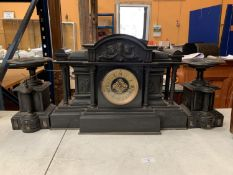 A VERY LARGE VICTORIAN BLACK SLATE EIGHT DAY STRIKING MANTEL CLOCK (H: 35CM)TO ALSO INCLUDE A PAIR