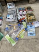 AN ASSORTMENT OF ITEMS TO INCLUDE TILE CUTTER, COMPUTER CABLES ETC