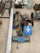AN ASSORTMENT OF TOOLS TO INCLUDE A GRINDER, A DRILL AND DRAINING RODS ETC