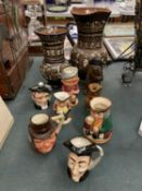 SEVEN CHARACTER JUGS, A GLASS FLASK IN THE FORM OF A PIRATE AND A PAIR OF STUDIO POTTERY STLYE ITEMS