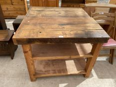 A KITCHEN BUTCHERS BLOCK TYPE THREE TIER TABLE, 38X35""
