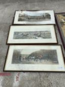 THREE FRAMED ENGRAVINGS OF HUNT SCENES