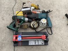 AN ASSORTMENT OF TOOLS TO INCLUDE TWO DRILLS, VINTAGE PRESSURE GAUGES ETC