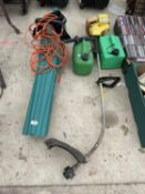 A LEAF BLOWER, TWO FUEL CANS AND A STRIMMER