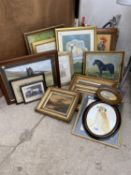 A LARGE ASSORTMENT OF FRAMED PRINTS AND PICTURES