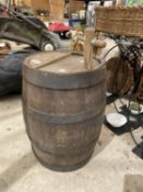 WOODEN BARREL WITH WOODEN TAP