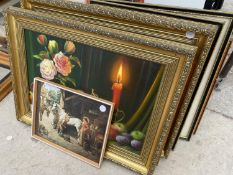 AN ASSORTMENT OF FRAMED PRINTS AND PICTURES TO INCLUDE OIL ON BOARDS