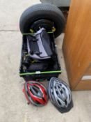 TWO CYCLING HELMETS, TWO PANNIERS, BAGS AND CYCLE TOOLS