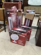 AN ASSORTMENT OF FANS TO INCLUDE 3 TOWER FANS AND 2 DESK FANS