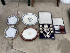 A COLLECTION OF CERAMIC PLATES AND EPNS FLAT WARE