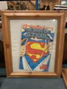 A FRAMED SUPERMAN COMIC No 1